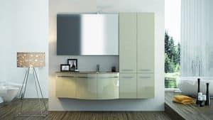 Round AM 118, Bath furniture, gloss finish, winding lines