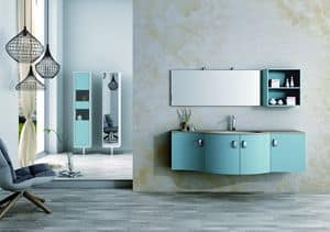 Round AM 121, Bathroom furniture, with sinuous lines, various materials
