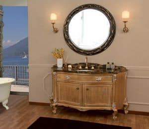 Art. 2700 Donatella, Bathroom vanity with marble top, gold leaf finishes
