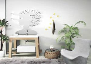 Quaderno1 Bath table comp.2, Composition for bathroom, in ash, integrated basin