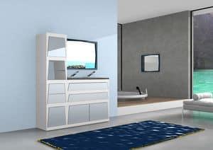 Bathroom furniture B1, Modular bathroom vanity with drawers and doors, in laminate