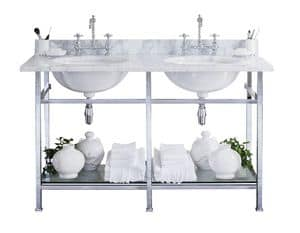 Celine Console, Console made of marble of  Carrara with a double washbasin