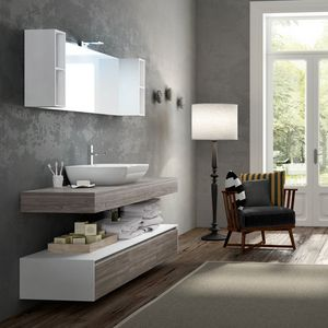 Change comp. 29, Bathroom cabinets with wood effect and ceramic washbasin