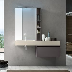 Change comp. 30, Bathroom cabinet with built-in sink in resin, for hotels