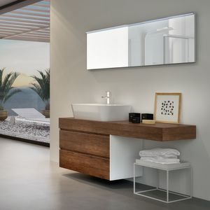 Change comp. 31, Bathroom cabinet in melamine, with external ceramic basin