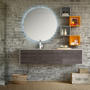 Change comp. 35, Bathroom cabinet with top in eco-cement, for hotels