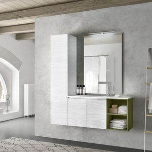 Change comp. 40, Bathroom furniture in lacquered melamine, with tall cabinet