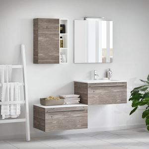 Change comp. 45, Bathroom furniture with wood effect, with handle Griff