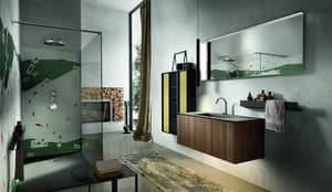 Chrono 306, Bathroom furniture with column made of aluminum and glass