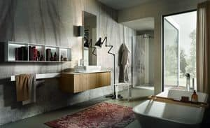 Chrono 307, Composition for bathroom with on top washbasin, library and mirror