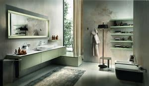 Chrono 308, Bathroom furniture with top made of White Marble of Carrara
