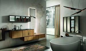 Chrono 310, Bath composition made of antique oak wood and marble Marengo