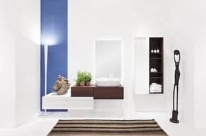 Class 02, Bathroom furniture, acacia and glossy white finish , with hanging cabinet