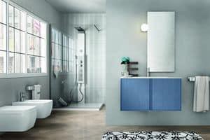 Cloe 24, Bathroom furniture in wood with simple mirror