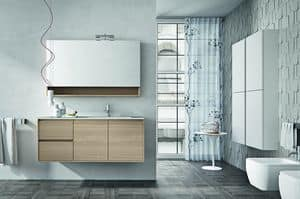 Cloe 30, Composition of bathroom furniture with shelf and mirror