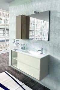 Cloe 33, Bathroom furniture made of oak with mirror and wall cabinet