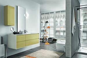 Cloe 34, Bathroom furniture made of sanding lacquered oak, with mirror
