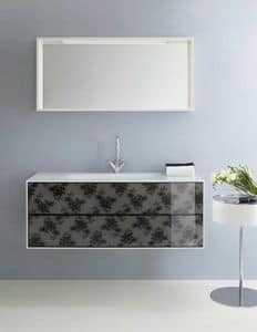Coc� 03, Bathroom cabinet, with drawers decorated with black lace