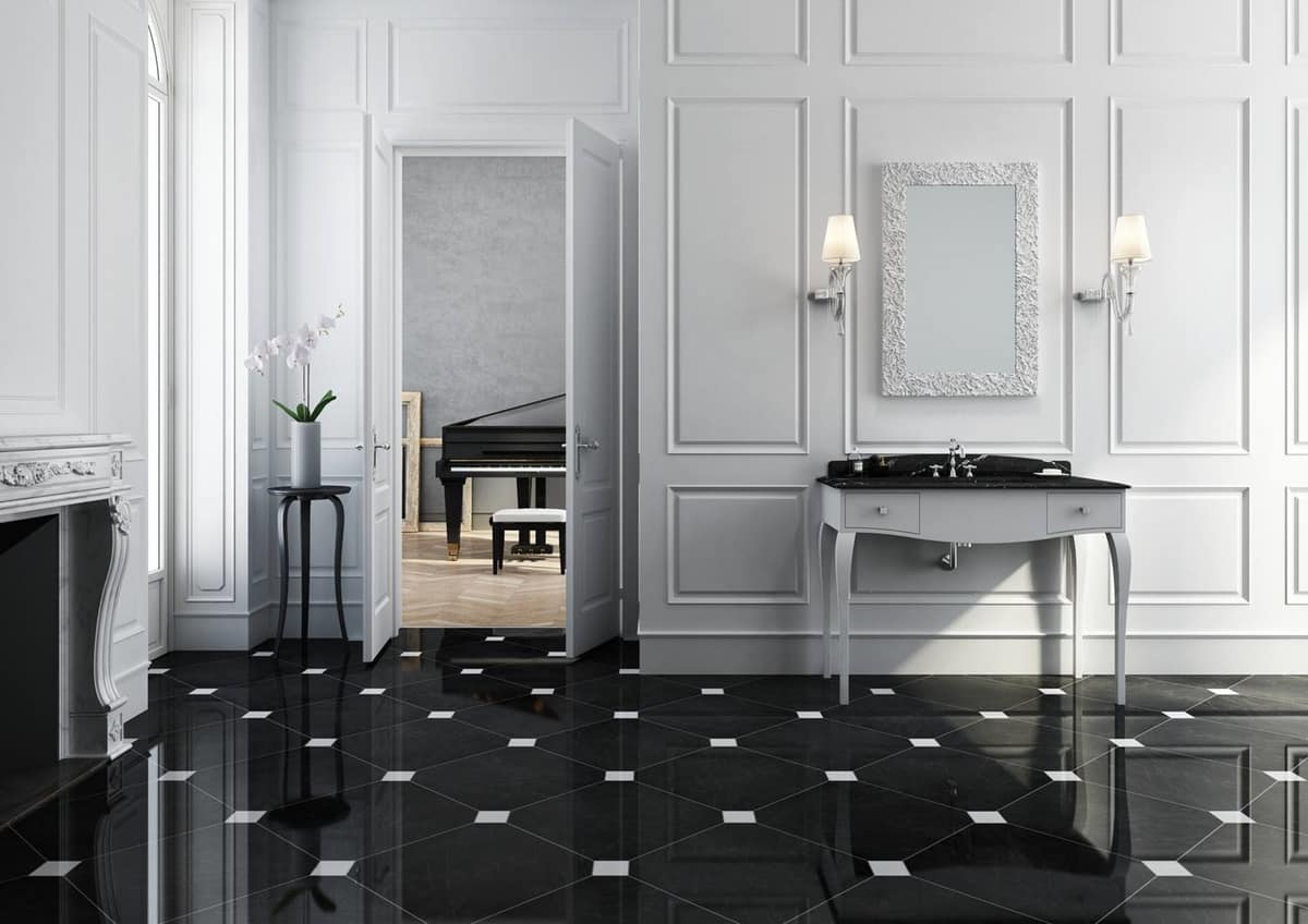 Dolce Vita 02, Bathroom furniture in classic style, matt white with black marble top
