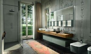 Enea 312, Bathroom cabinet with sandblasted glass mirror