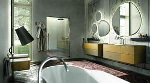 Enea 314, Composition of bathroom furniture, color cream and mustard