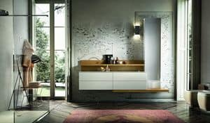 Enea 315, Furniture for bath with wainscoting and column with mirror