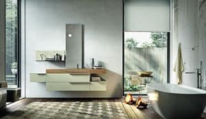 Giunone 354, Furniture composition for bathroom made of cement pearl melamine