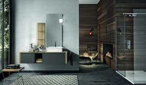 Giunone 356, Charcoal-colored bathroom cabinet  with mirror