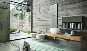 Giunone 377, Bathroom consolle made of oak with wall cabinet and mirror