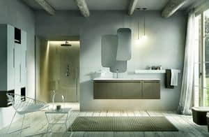 Ker 316, Bathroom furniture with washbasin and uneven mirror