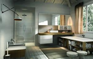 Ker 320, Bathroom furniture with bathtub with containers