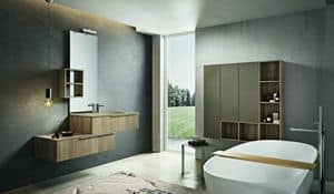 Kyros 112, Composition of bathroom furniture with wooden wall units