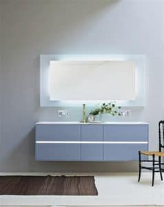 Light 01, Bathroom cabinet with two washbasins, dull blue color