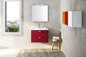 Lime Ø comp.25, Red bathroom cabinet, with ceramic washbasin