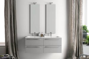 Lime Ø comp.26, Bathroom cabinet with double washbasin and vertical mirrors