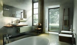 Maia 304, Bath furniture composition, with console and mirror