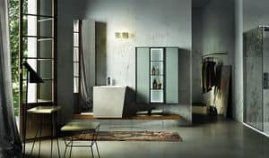Maia 305, Bathroom cabinet with backlit glass panel