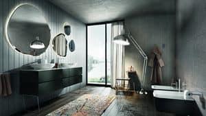 Nike 327, Bathroom cabinet with irregular backlit mirrors