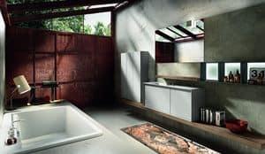 Regolo 321, Bathroom cabinet, washbasin with folding faucet
