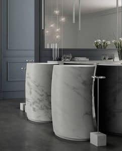 Right Carrara marble, Washbasin with Carrara marble