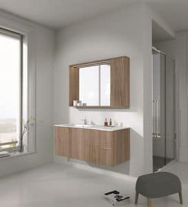 Singoli S 22, Bathroom cabinet finished in polished maple