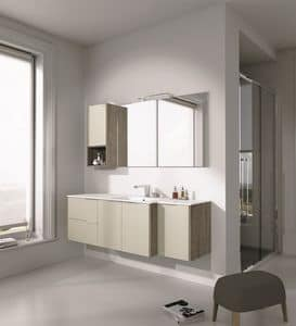 Singoli S 27, Bathroom furniture with sink and cabinets
