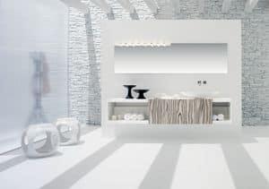 Slide 02, Washbasin base for bathroom, white matt, with sliding door in white zebrano
