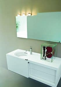 Slide 04, Compact bathroom furniture, with sliding door, white color