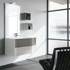 STR8 comp. 15, Bathroom cabinet with drawers, shelves, and LED light