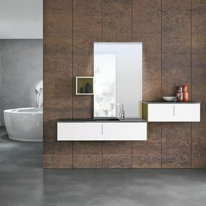 STR8 comp. 21, Bathroom cabinet in composite material and lacquered wood