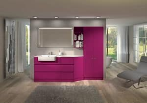 Torana TR 010, Bathroom furniture with wardrobe, bookcase and mirror