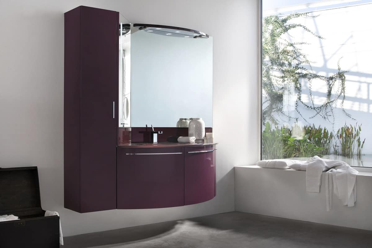 Up U0026 Down 02, Bathroom Cabinet With Hanging Column, Rounded Doors