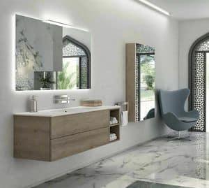 Yumi 02, Bathroom cabinet with Pembroke gray finish, matt white top