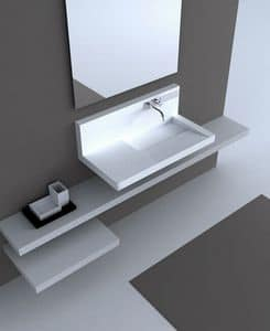 Pamplona 2008, Wall sink, in Corian, with mixer